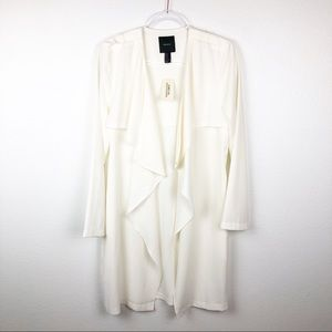 Forever 21 Flowy Draped Off White Coat w Pockets M